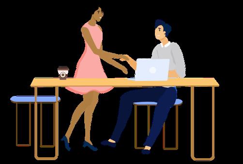 femme et homme se serre la main au travail
