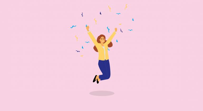 femme saute de joie