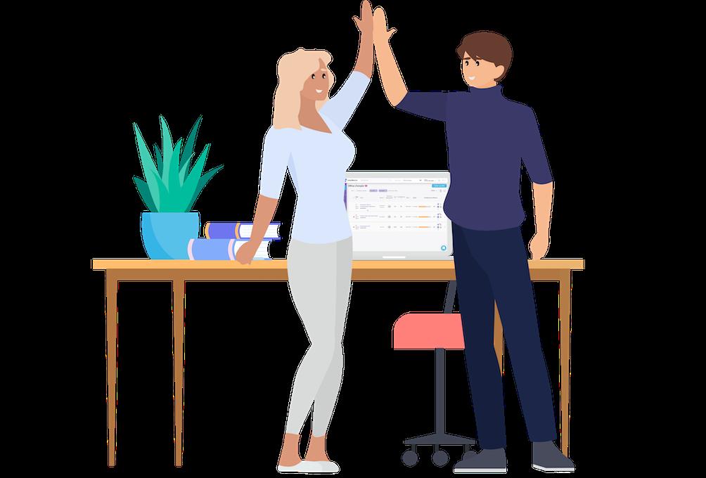 femme et homme donne un high five pour célébrer des résultats de recrutement à succès