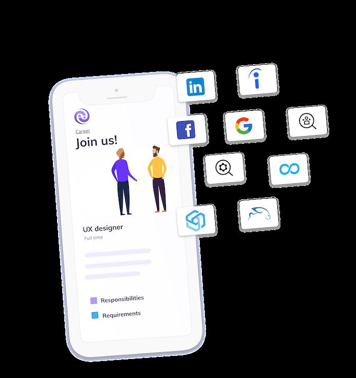 RH publie des offres d'emploi en utilisant la page carrière et les réseaux de publication d'Enroll Talent