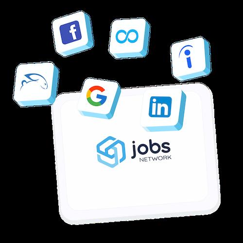 logos de toutes les plateformes de recrutement y compris LinkedIn, Google, Jooble, Indeed, Neuvoo et Facebook comm les réseaux partenaires de Jobs Network